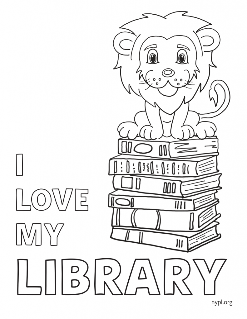 coloring picture of books, lion